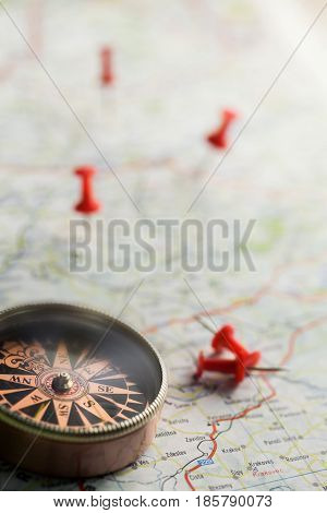 Compass map travel directions directional compass close-up guidance