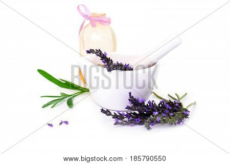 Lavender Flowers, Lavander Oil And Montar With Dry Flowers Isolated On White