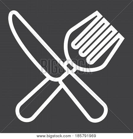 Fork and Knife line icon, dinner and restaurant, vector graphics, a linear pattern on a black background, eps 10.