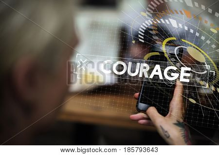 Woman Using Smart Phone with Courage Design Graphic Word