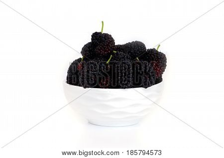 Mulberry In A Dish With Isolated On White Background Blackberry
