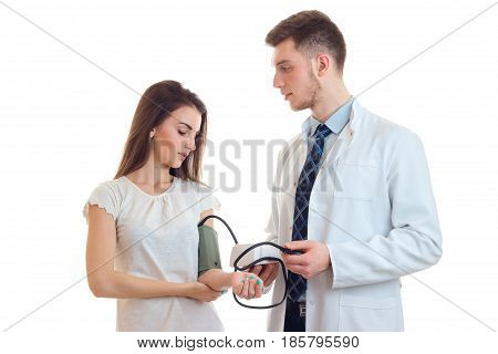 a young girl came to the doctor to measure pressure isolated on white background