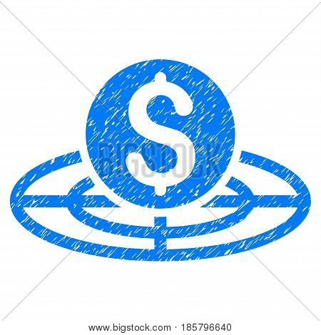 Grunge Money Crosshair icon with grunge design and unclean texture. Unclean vector blue pictogram for rubber seal stamp imitations and watermarks. Draft sign symbol.