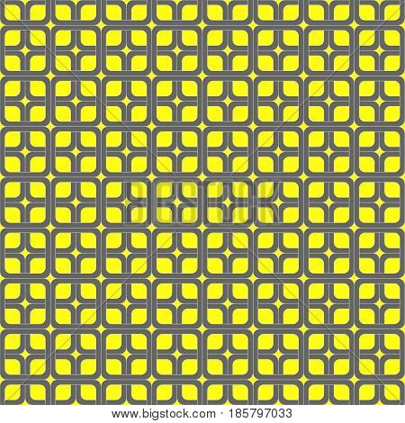 Seamless geometric pattern vector abstract background design of curved squares connected like chain and created ellipse and diamond star shapes colorful grey yellow