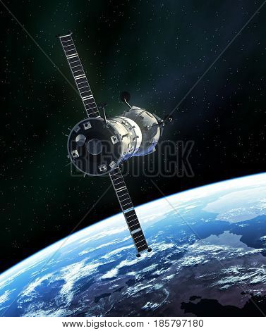 Russian Spacecraft In Outer Space. 3D Illustration.