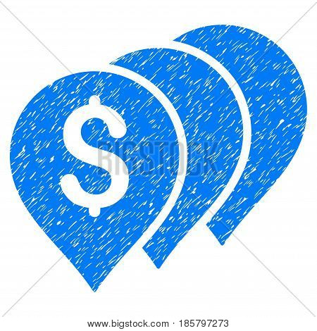 Grunge Money Map Pointers icon with grunge design and dirty texture. Unclean vector blue pictogram for rubber seal stamp imitations and watermarks. Draft emblem symbol.