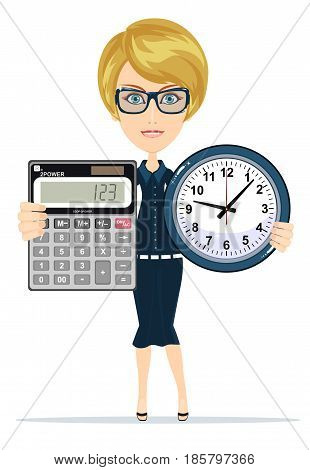 Woman holding an electronic calculator and clock. Stock vector illustration for poster, greeting card, website, ad, business presentation, advertisement design.