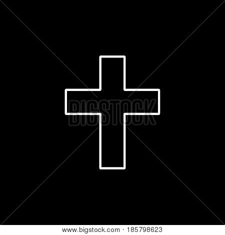 Religion cross line icon, religion christianity, Religious sign, a linear pattern on a black background, eps 10.