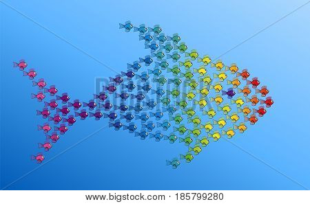 Many little fishes forming a big fish to be strong together - symbol for teamwork, solidarity, cooperation and cohesion - vector illustration on blue gradient background.