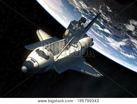 Space Shuttle And Module Of International Space Station On Background Of Earth. 3D Illustration.