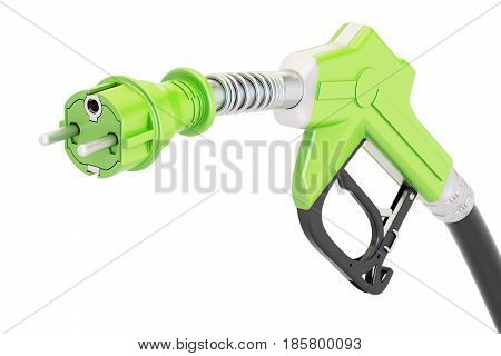 Electric car charging concept. Gas pump nozzle with electrical plug 3D rendering isolated on white background