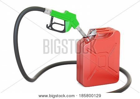gas pump nozzle with jerrycan 3D rendering isolated on white background