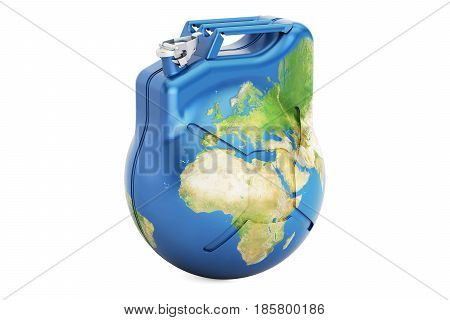 Jerrycan Earth globe 3D rendering isolated on white background