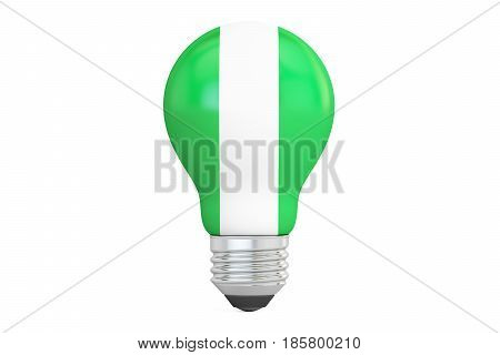 Light bulb with Nigeria flag 3D rendering isolated on white background