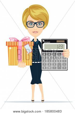 Woman holding an electronic calculator and gift box. Stock vector illustration for poster, greeting card, website, ad, business presentation, advertisement design.