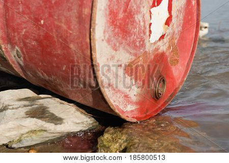 Chemical Substance Leaking Into The Water, Color Image, Outdoors