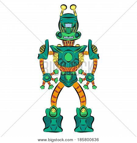 Robot dog of green color with yellow ears in sneakers