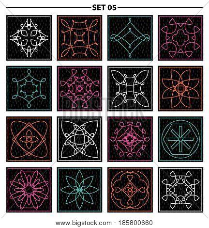 Set of floral linear monogram design. Line art elements. Vector illustration