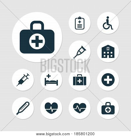 Antibiotic Icons Set. Collection Of Injection, Mercury, Chest And Other Elements. Also Includes Symbols Such As Wheelchair, Thermometer, Pill.
