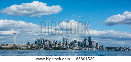 Panoramic view of Seattle Harbor and skyline
