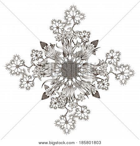 Mandala bouquet of wildflowers and daffodils form a diamond