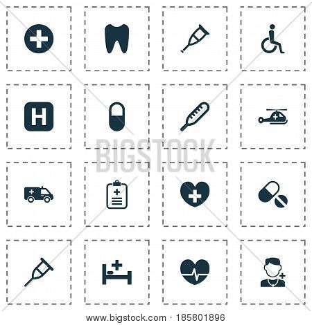 Medicine Icons Set. Collection Of First-Aid, Heal, Tent And Other Elements. Also Includes Symbols Such As Healthy, Pellet, First-Aid.