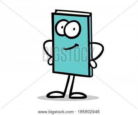 Funny book cartoon character as read or learn concept