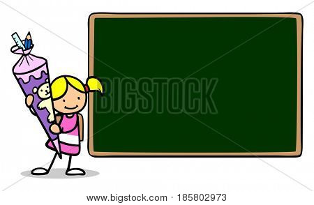 Cartoon of child next to big chalkboard with school cone as back to school concept