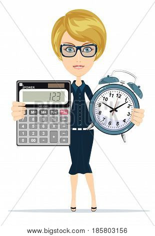 Woman holding an electronic calculator and alarm clock. Stock vector illustration for poster, greeting card, website, ad, business presentation, advertisement design.