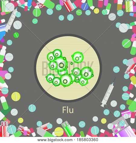 Vector Illustration Of Influenza Virus