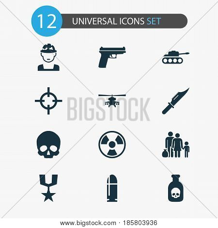 Combat Icons Set. Collection Of Weapons, Cranium, Target And Other Elements. Also Includes Symbols Such As Bullet, Fatal, Head.