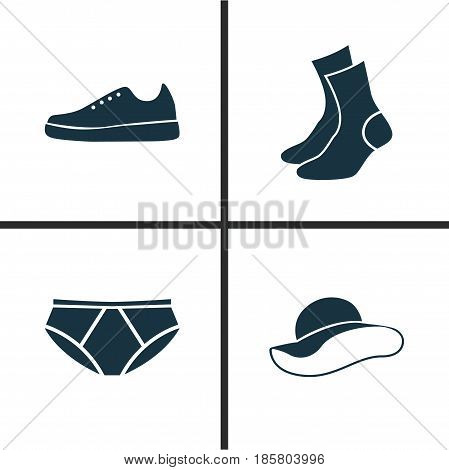 Dress Icons Set. Collection Of Sneakers, Briefs, Elegant Headgear And Other Elements. Also Includes Symbols Such As Briefs, Garment, Socks.