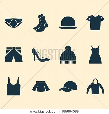 Dress Icons Set. Collection Of Stylish Apparel, Half-Hose, Casual And Other Elements. Also Includes Symbols Such As Cloth, Ski, Underpants.