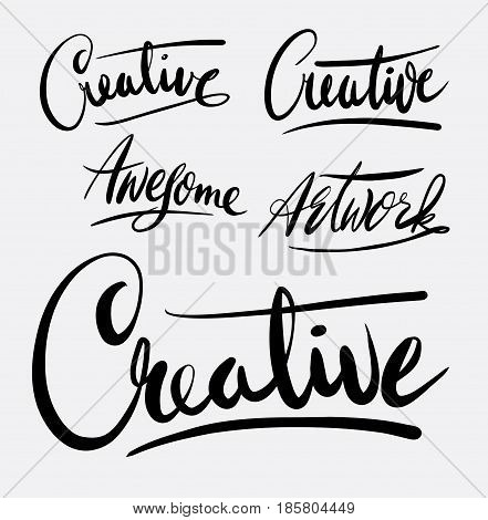 creative hand written typography. Good use for logotype, symbol, cover label, product, brand, poster title or any graphic design you want. Easy to use or change color