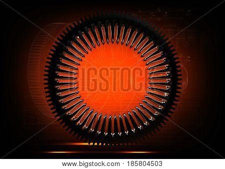 Silver cogwheel on an orange background. 3 d render