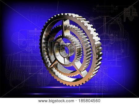 Silver cogwheel on a blue background. 3 d render