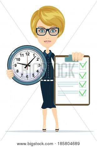 Woman holding an agreement and clock. Stock vector illustration for poster, greeting card, website, ad, business presentation, advertisement design.