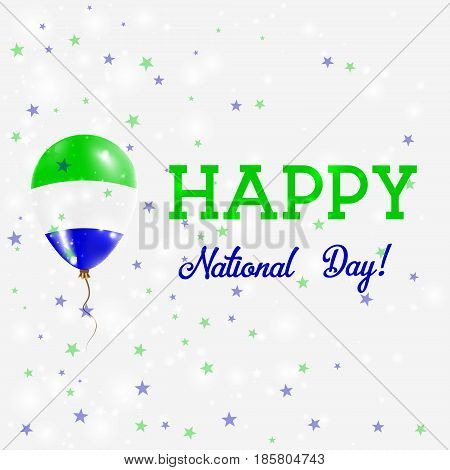 Sierra Leone National Day Patriotic Poster. Flying Rubber Balloon In Colors Of The Sierra Leonean Fl