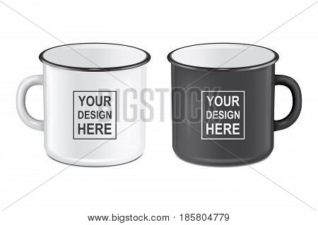 Vector illustration of realistic enamel metal white and black mugs isolated on white background. EPS10 design template for Mock up.
