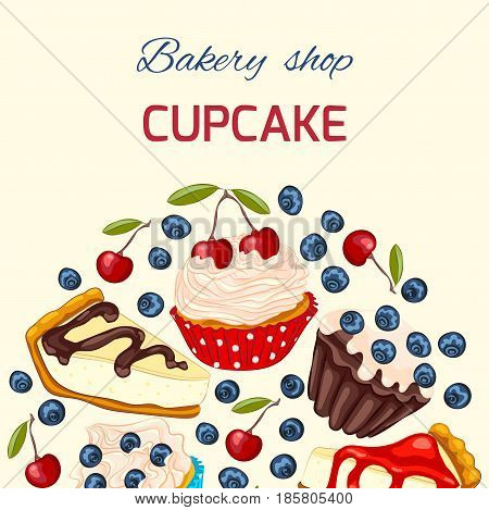 Cupcake with whipped cream muffin and cheesecake. Vector birthday greeting card or invitation template. Copy space.
