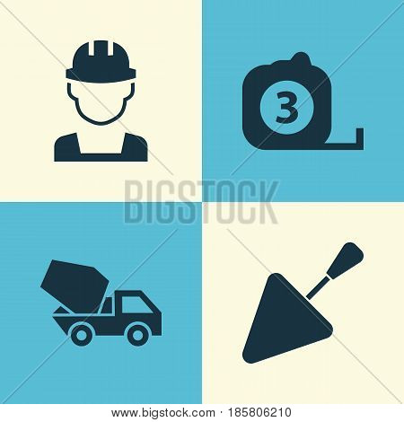 Architecture Icons Set. Collection Of Measure Tool, Cement Vehicle, Spatula And Other Elements. Also Includes Symbols Such As Vehicle, Mixer, Builder.