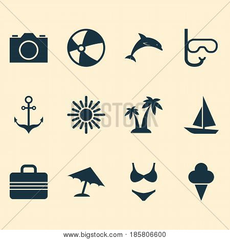 Season Icons Set. Collection Of Sunny, Tube, Parasol And Other Elements. Also Includes Symbols Such As Armature, Sunny, Anchor.