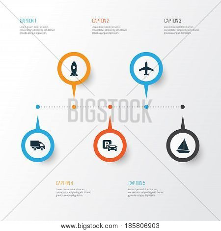 Shipment Icons Set. Collection Of Yacht, Spaceship, Road Sign And Other Elements. Also Includes Symbols Such As Aircraft, Parking, Camion.