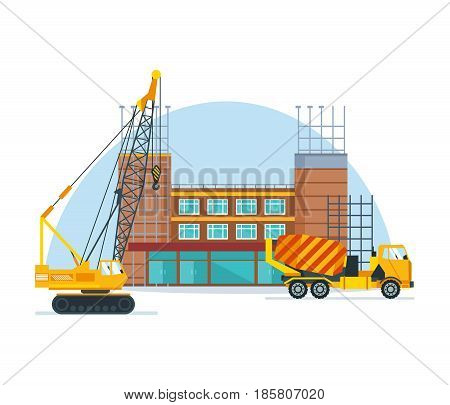 The process of building a school premises with the help of special equipment and transport a crane and a concrete mixer. Construction building. Vector illustration isolated on white background.