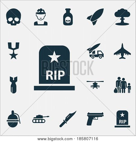 Army Icons Set. Collection Of Rip, Panzer, Rocket And Other Elements. Also Includes Symbols Such As Scalper, Grave, Fatal.