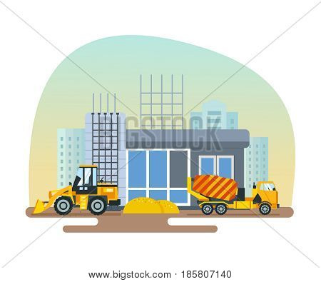 Reconstruction of the post office, work on a forklift and concrete mixer, import of materials. Modern vector illustration isolated on white background.