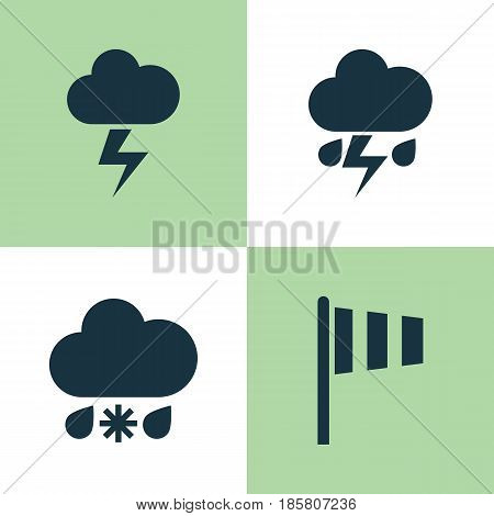 Weather Icons Set. Collection Of Lightning, Flag, Wet And Other Elements. Also Includes Symbols Such As Wet, Weather, Flash.