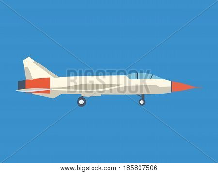 Modern milliary air plane flying on blue sky. Modern vector illustration isolated on blue background.