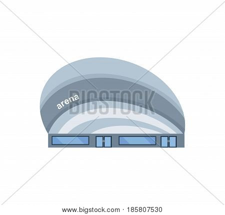 Modern light building of the arena, architectural historical building. City building. Modern vector illustration isolated on white background.