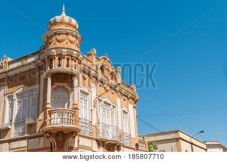 Old house in Faro Algarve Portugal. Neobaroque architecture style.